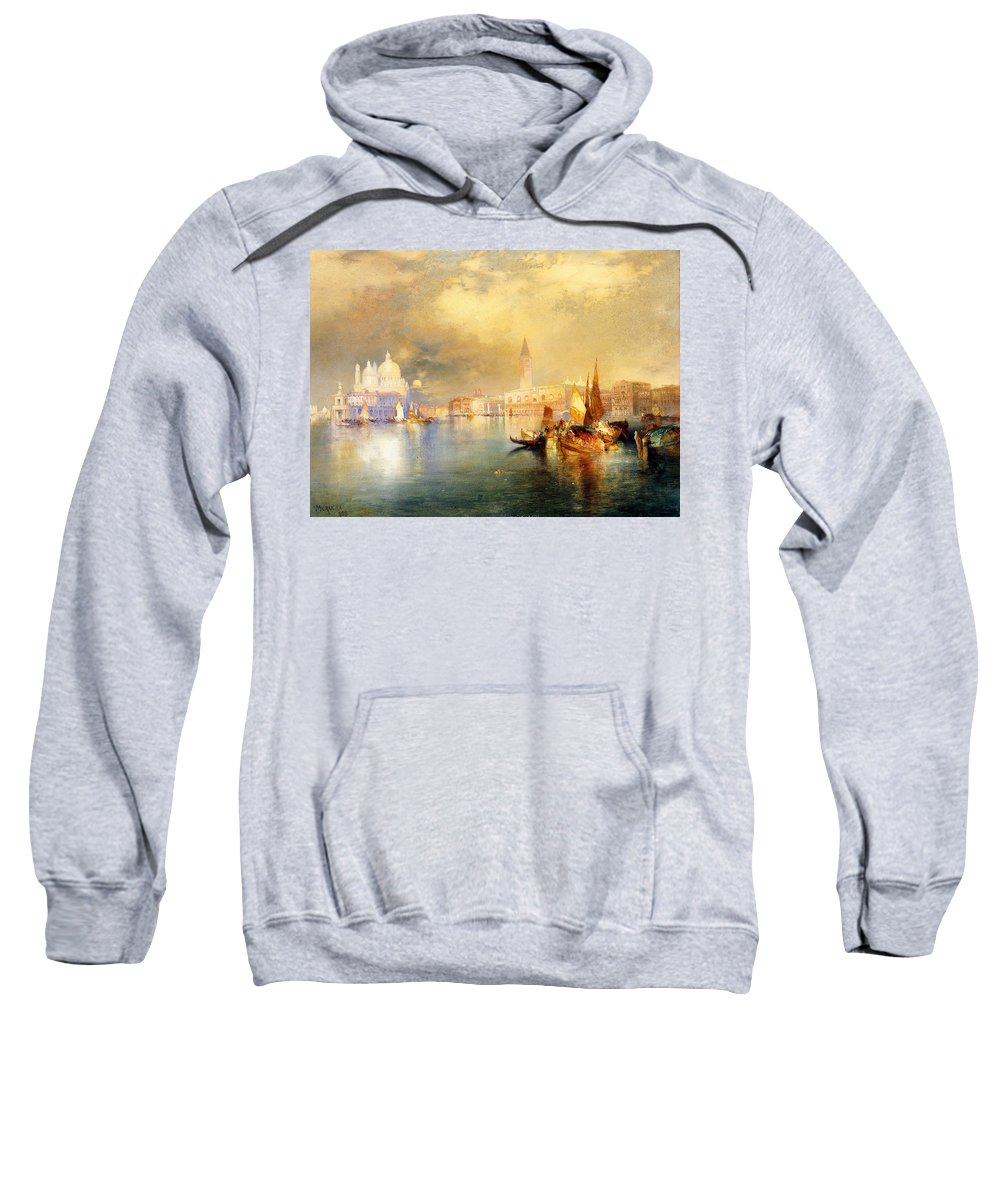 Moonlight In Venice Sweatshirt featuring the painting Moonlight In Venice by Thomas Moran
