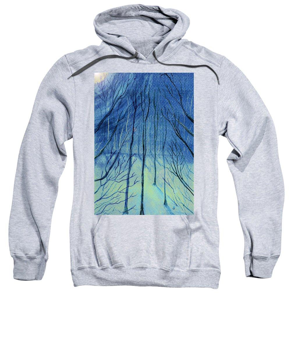 Watercolor Sweatshirt featuring the painting Moonlit In Blue by Brenda Owen