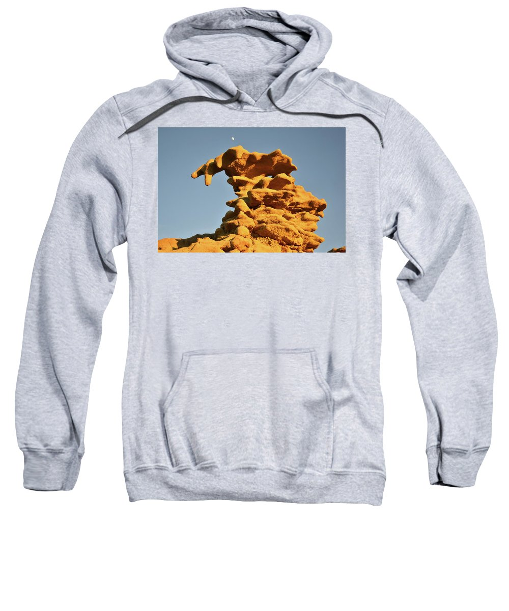 Fantasy Canyon Sweatshirt featuring the photograph Moonrise Over Fantasy Canyon Hoodoo by Ray Mathis