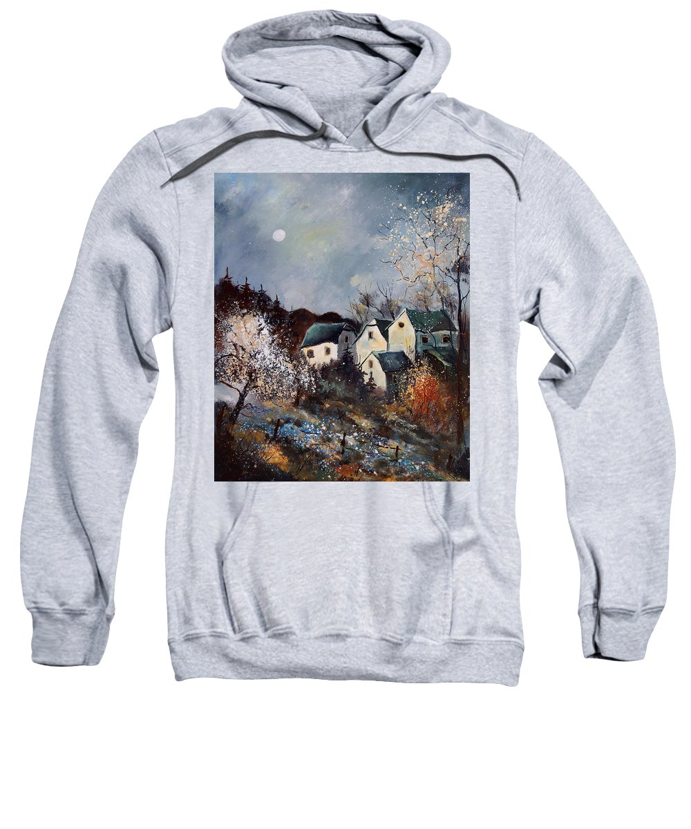 Village Sweatshirt featuring the painting Moonshine by Pol Ledent