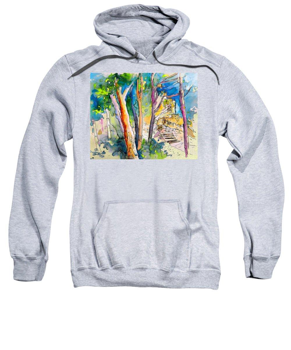 Sintra Sweatshirt featuring the painting Moorish Castle In Sintra 02 by Miki De Goodaboom