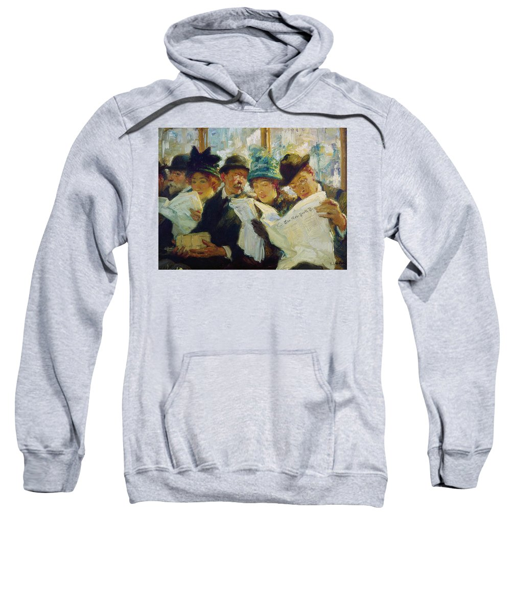 1912 Sweatshirt featuring the painting Mora Morning News C1912 by Granger