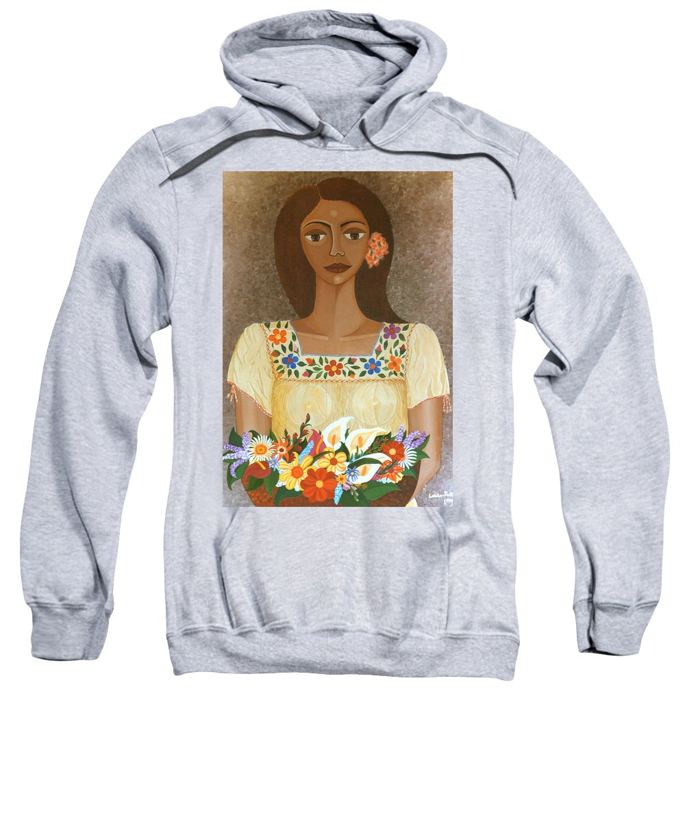 Oil Sweatshirt featuring the painting More Than Flowers She Sold Illusions by Madalena Lobao-Tello