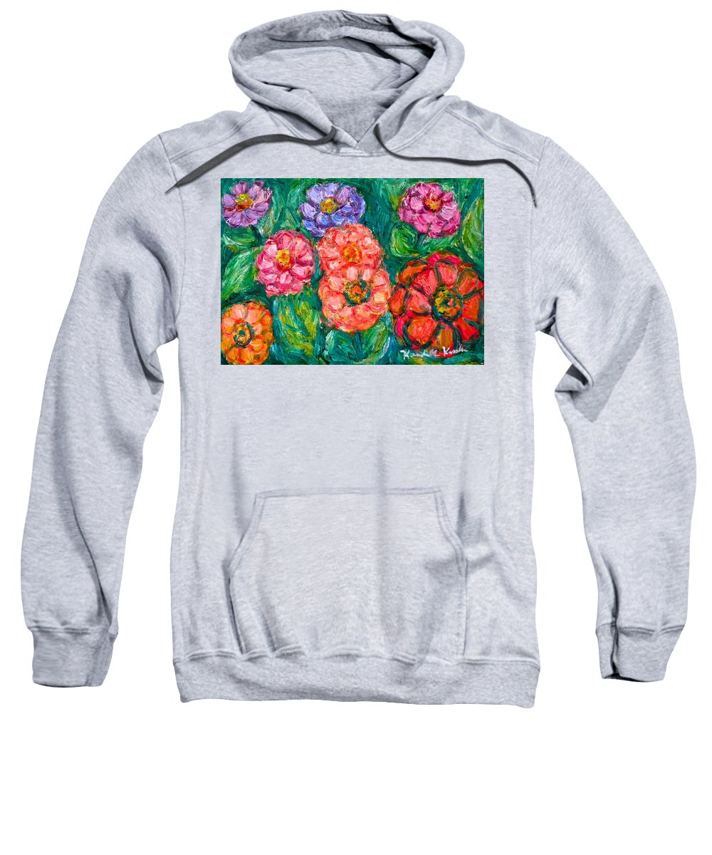 Flowers Sweatshirt featuring the painting More Zinnias by Kendall Kessler