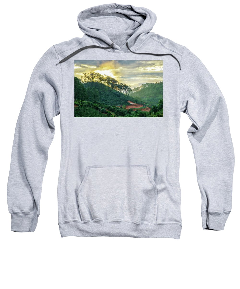Pine Forest Sweatshirt featuring the photograph Moring In Dalat by Nguyen Quang Thin