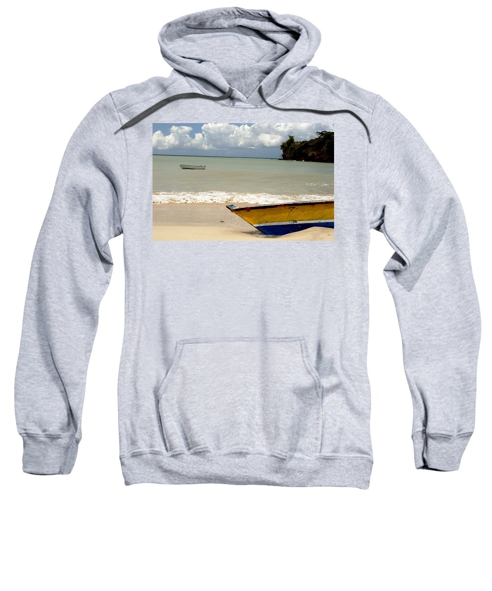 Boat Sweatshirt featuring the photograph Morne Rouge Boats by Jean Macaluso