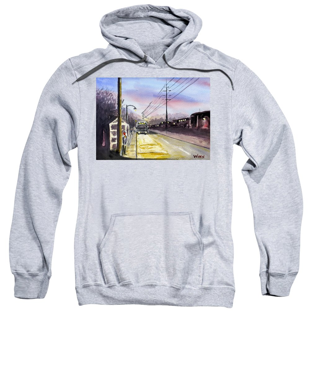People Sweatshirt featuring the painting Morning Commute by Brett Winn