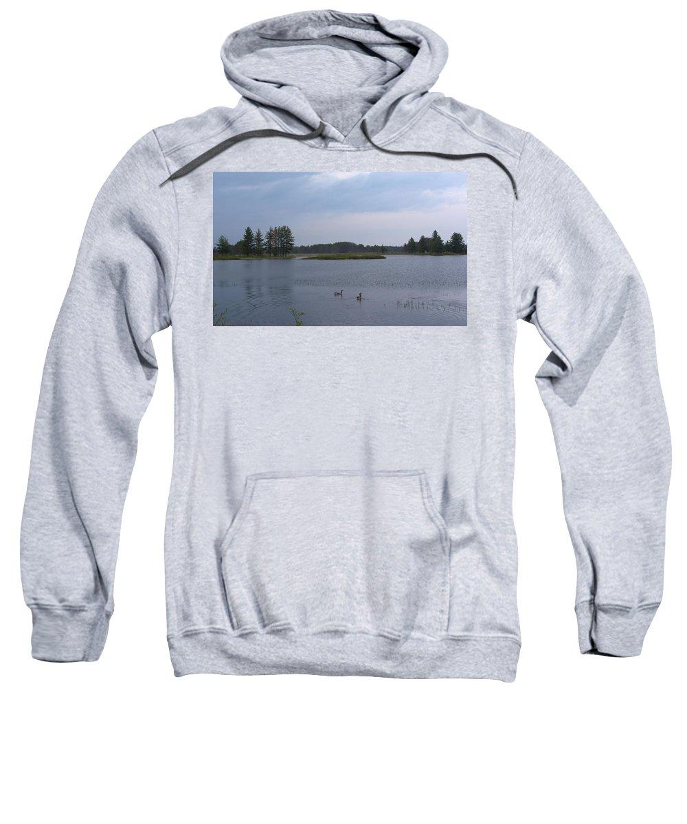 Nature Sweatshirt featuring the photograph Morning Geese by Linda Kerkau