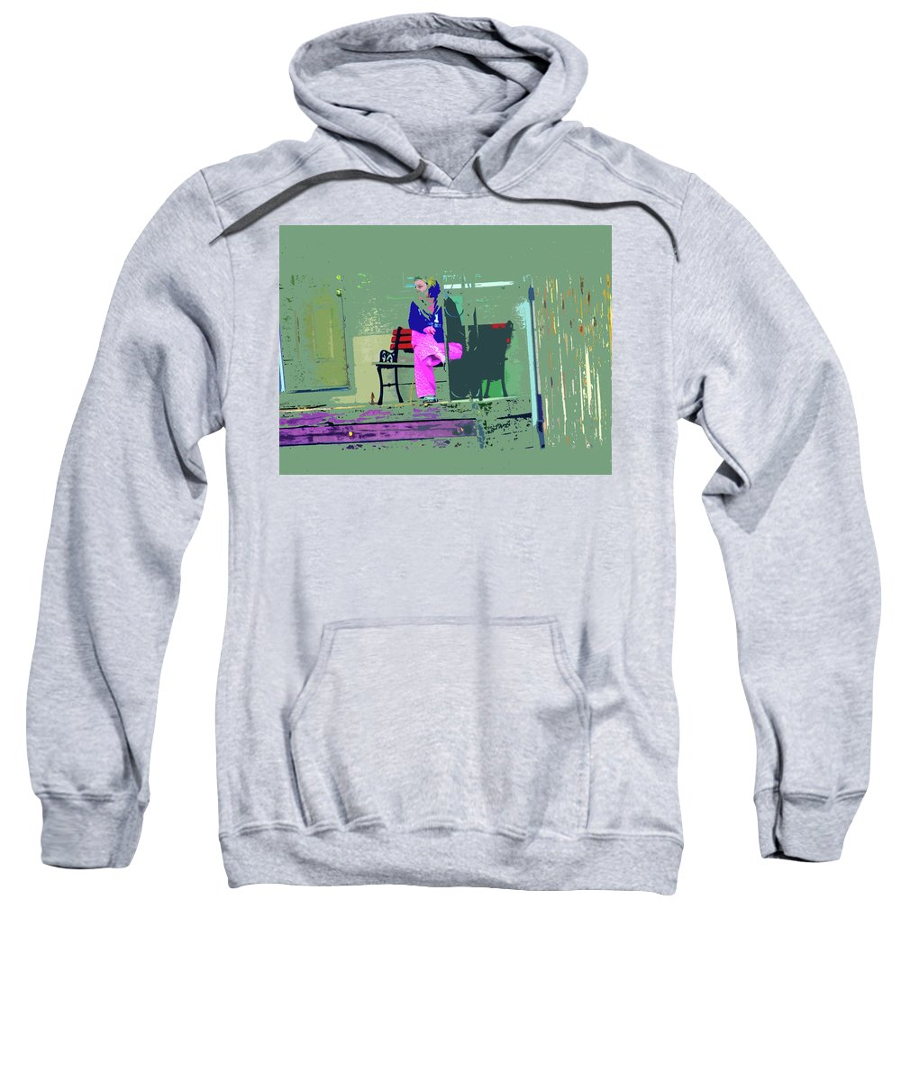 Abstract Sweatshirt featuring the digital art Morning In Her Pink Pajamas by Lenore Senior
