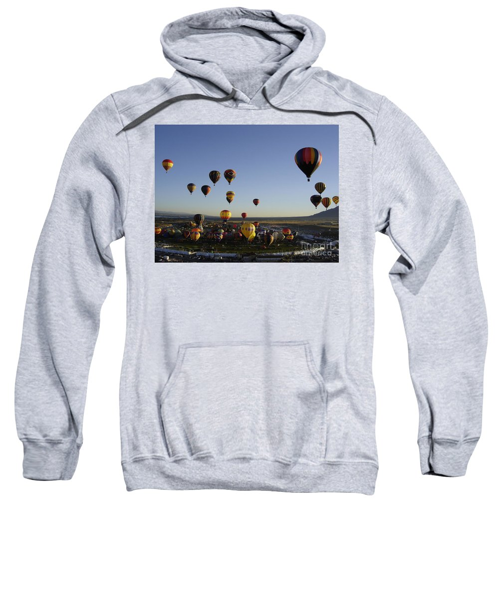 Hot Air Balloons Sweatshirt featuring the photograph Morning Liftoff by Mary Rogers