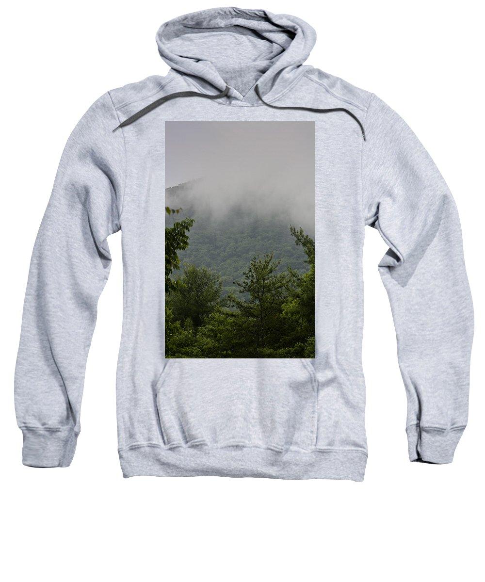Bluestone Sweatshirt featuring the photograph Morning Mist Bluestone State Park West Virginia by Teresa Mucha