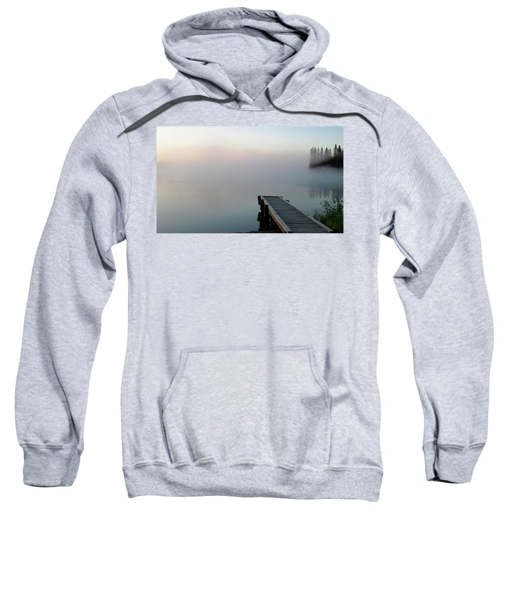 Sweatshirt featuring the digital art Morning Mist On Lynx Lake Saskatchewan by Mark Duffy
