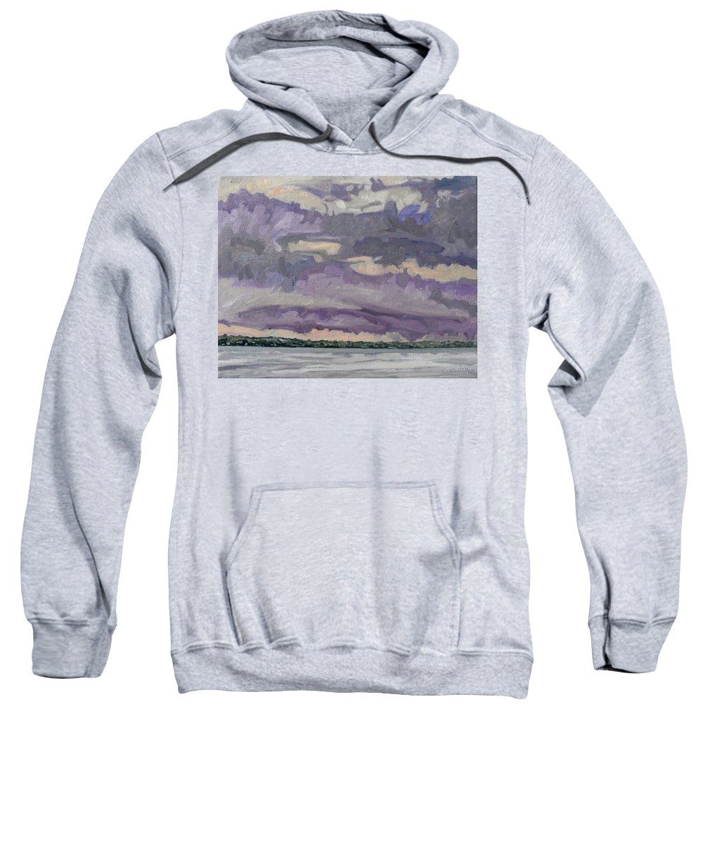 Shower Sweatshirt featuring the painting Morning Rain Clouds by Phil Chadwick