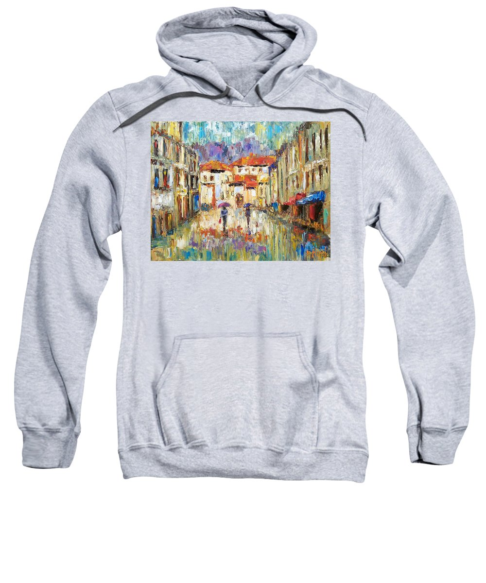 Landscape Sweatshirt featuring the painting Morning Rain by Debra Hurd