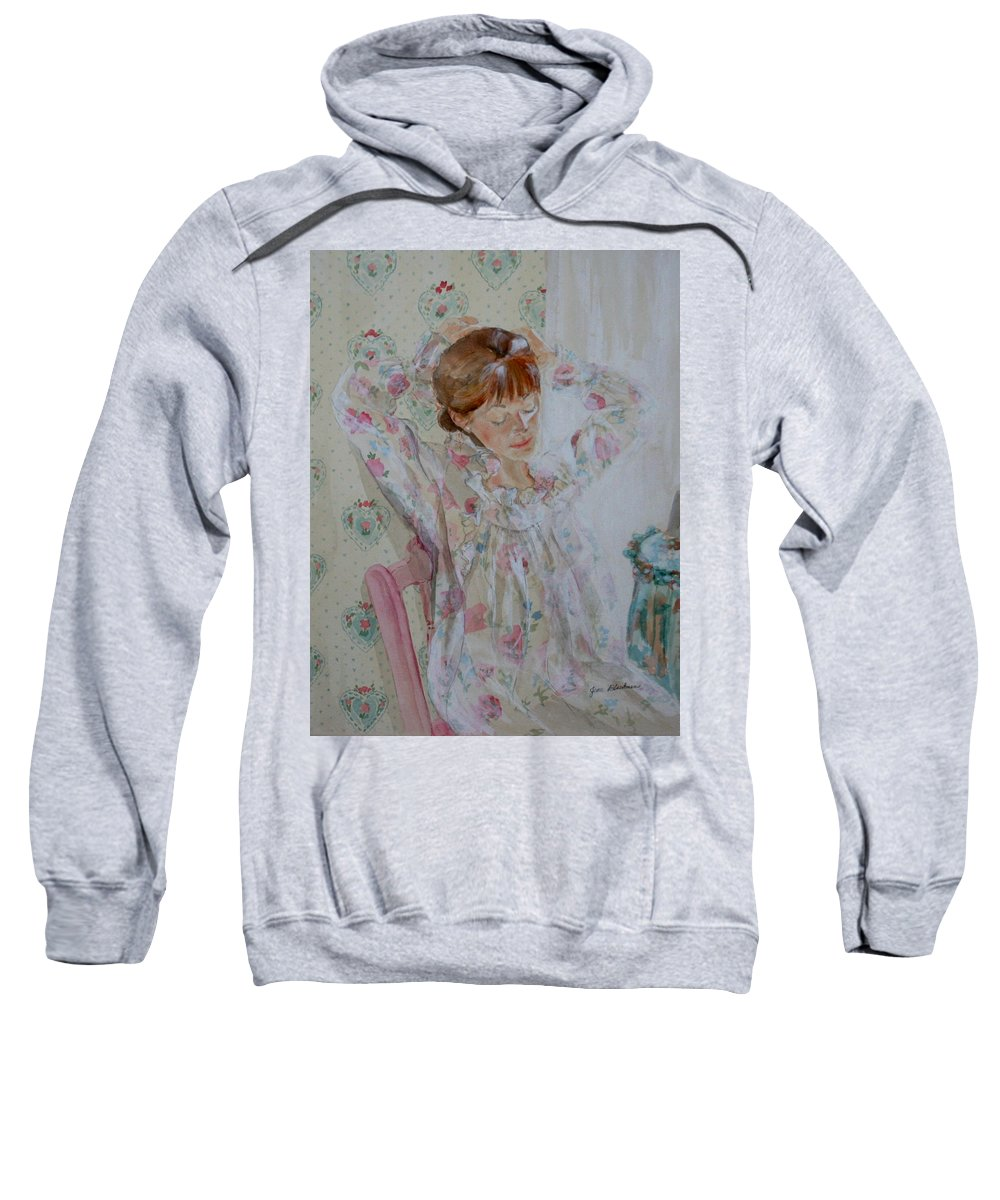 Morning Sweatshirt featuring the painting Morning Ritual by Jean Blackmer
