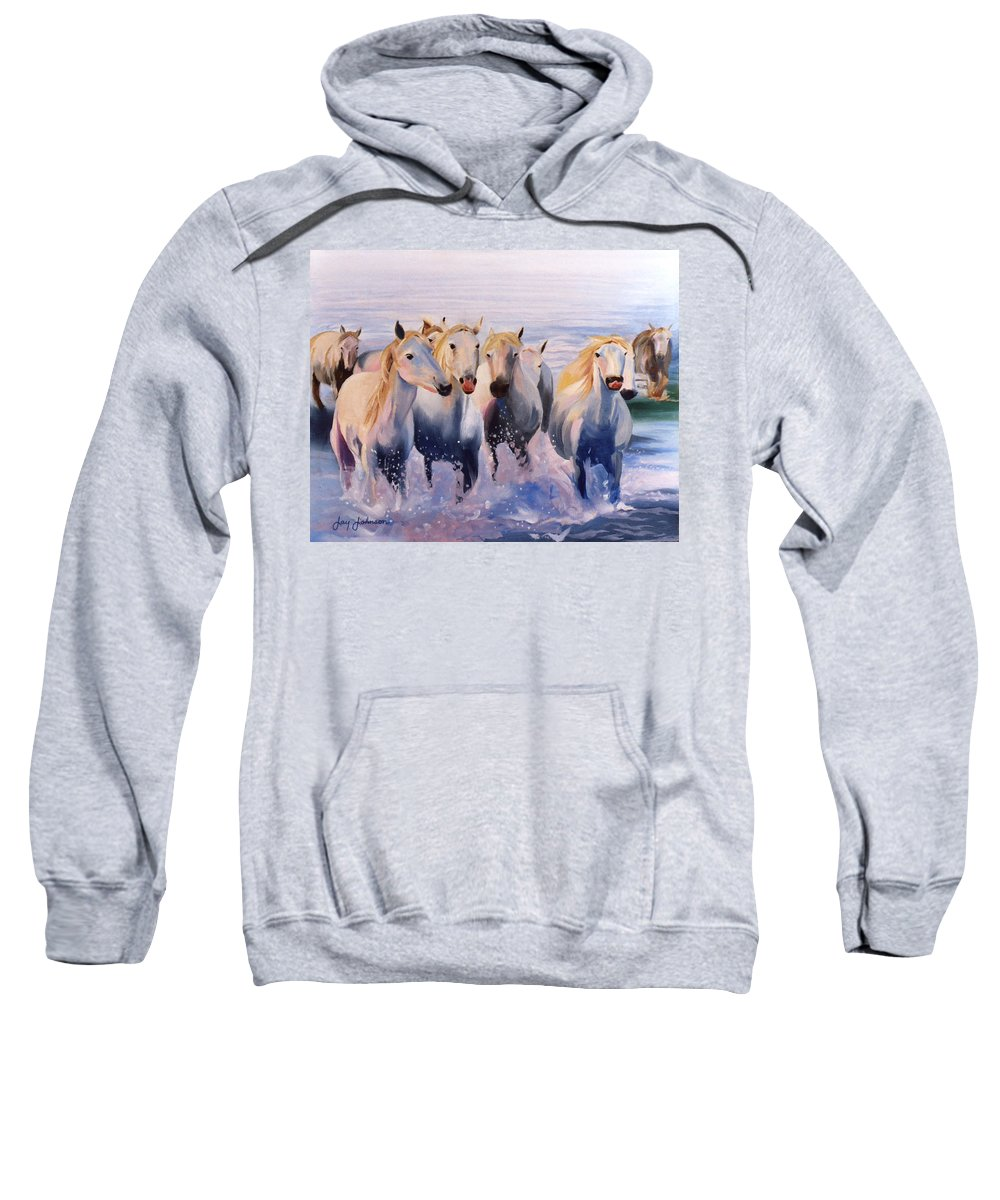 Sweatshirt featuring the painting Morning Run by Jay Johnson
