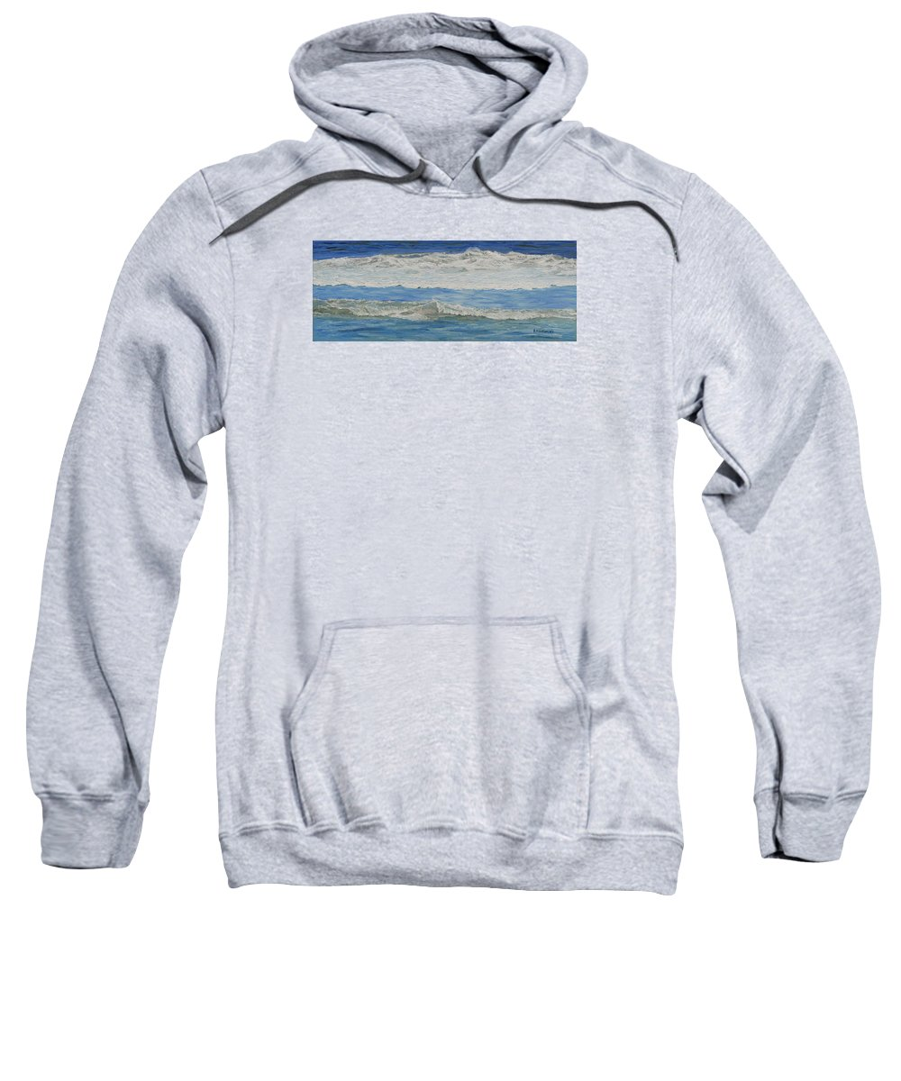 Seascape Sweatshirt featuring the painting Morning Surf at Spring Lake by Lea Novak