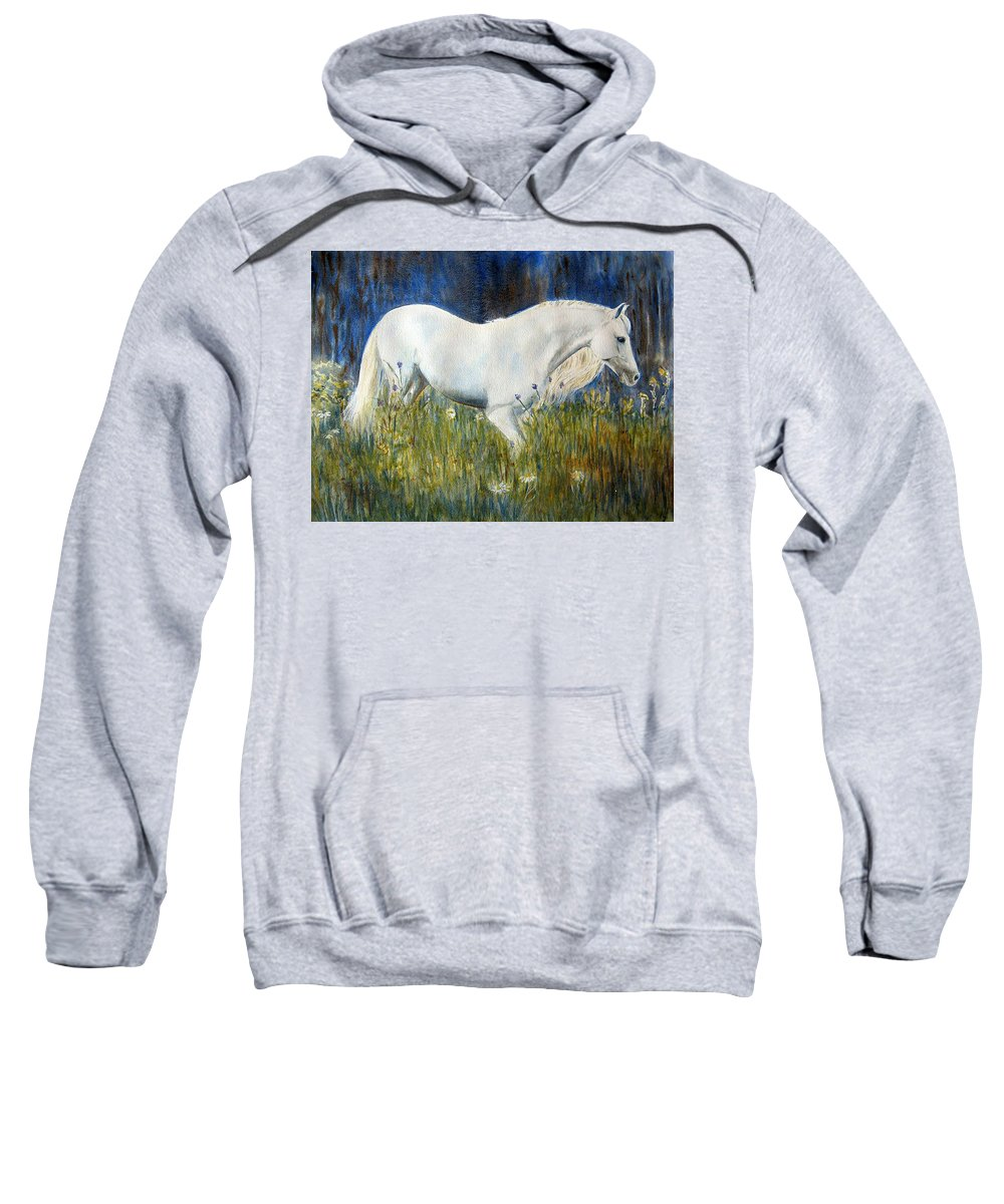 Horse Painting Sweatshirt featuring the painting Morning Walk by Frances Gillotti