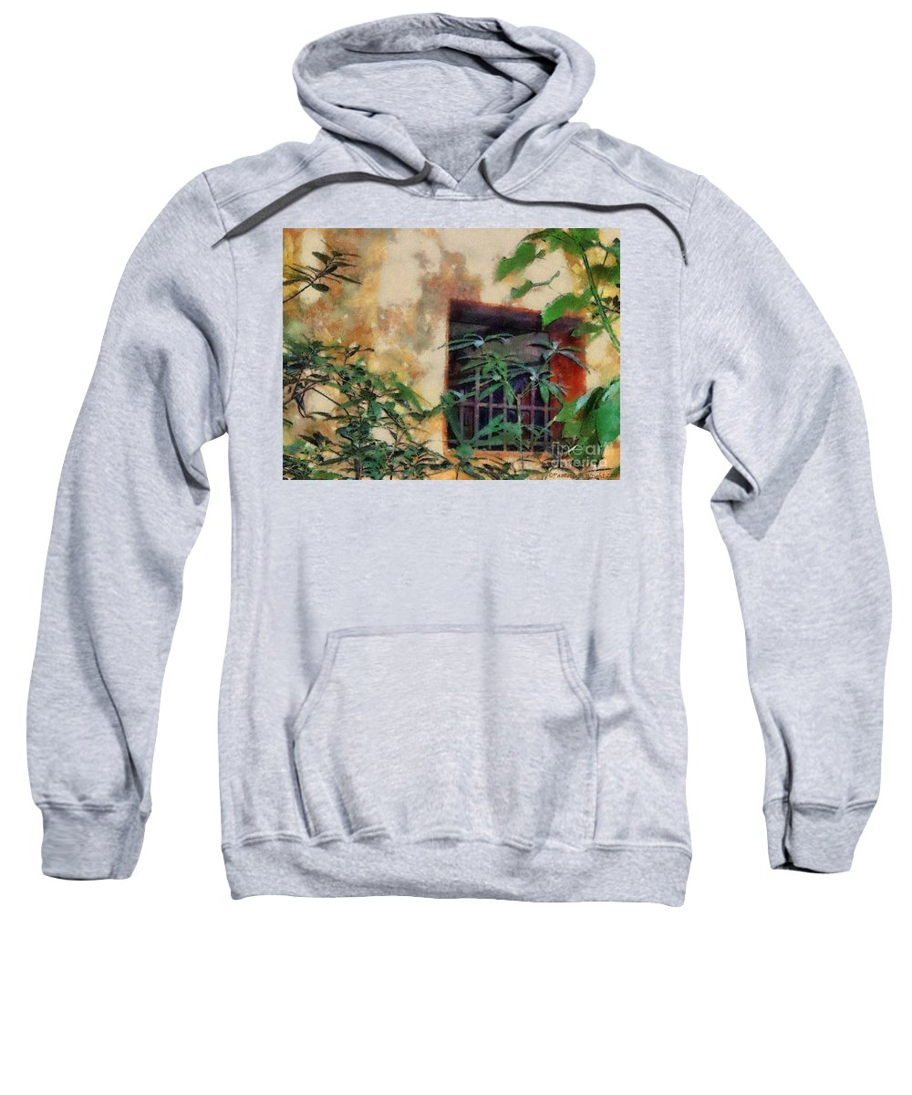 Moss Sweatshirt featuring the painting Mossy Wall by Paulette B Wright
