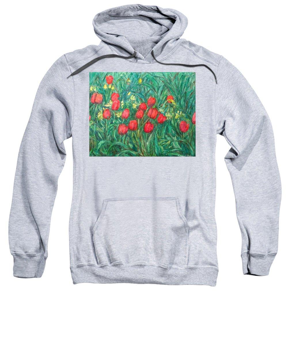 Kendall Kessler Sweatshirt featuring the painting Mostly Tulips by Kendall Kessler
