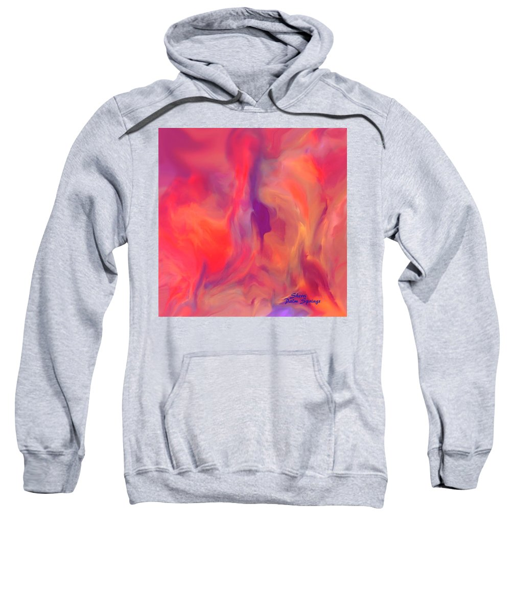 Mother Sweatshirt featuring the painting Mother And Daughter Abstract by Sherri's - Of Palm Springs
