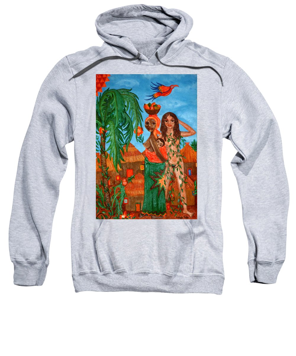 Mother Sweatshirt featuring the painting Mother Black Mother White by Madalena Lobao-Tello