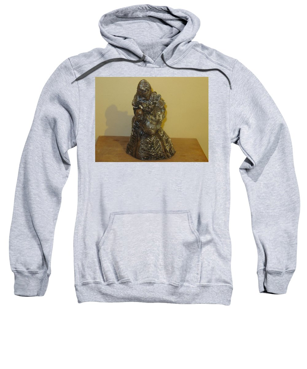 Jesus Sweatshirt featuring the sculpture Mother Feeding Baby by Gloria Ssali
