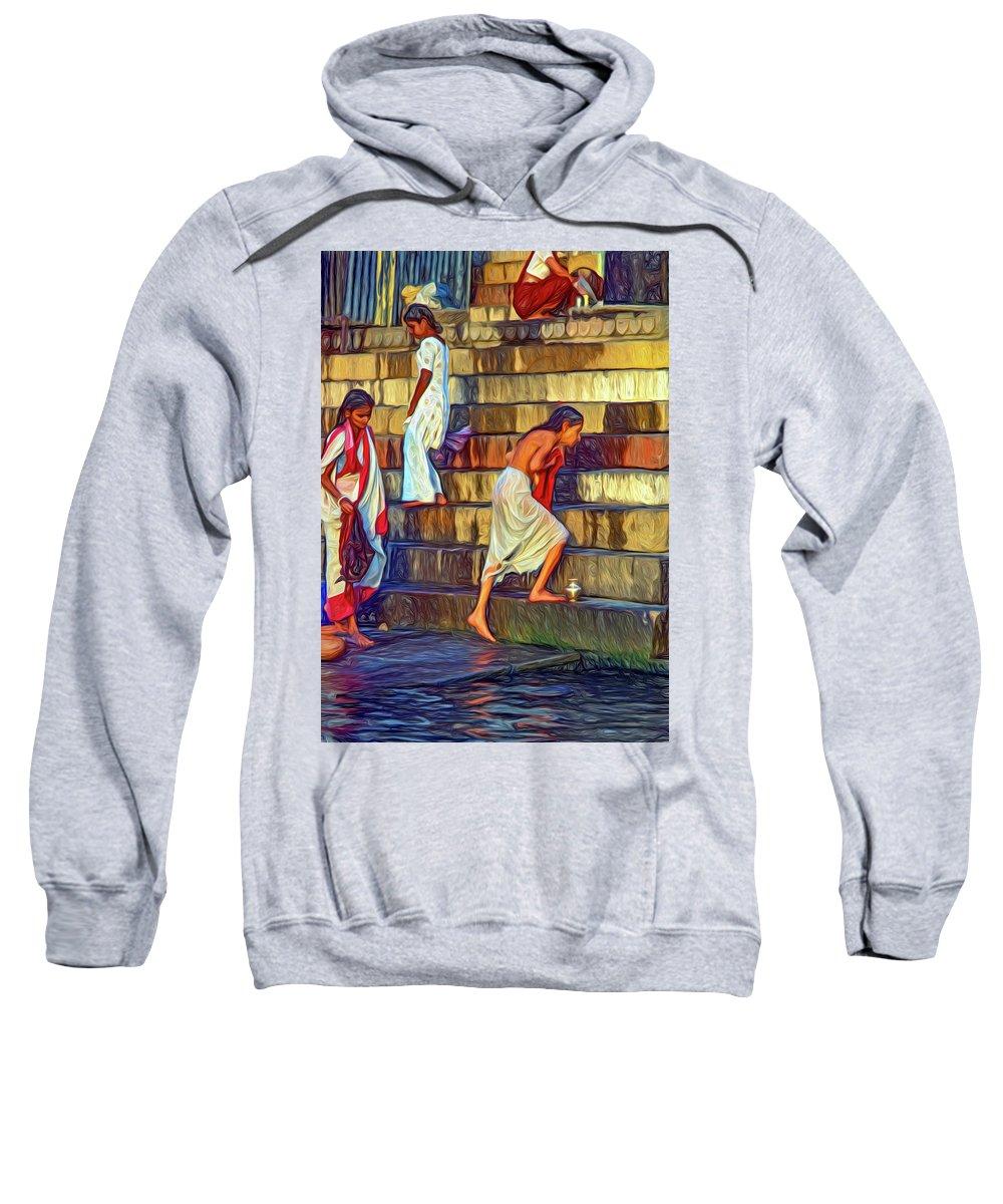 Varanasi Sweatshirt featuring the photograph Mother Ganges - Paint by Steve Harrington
