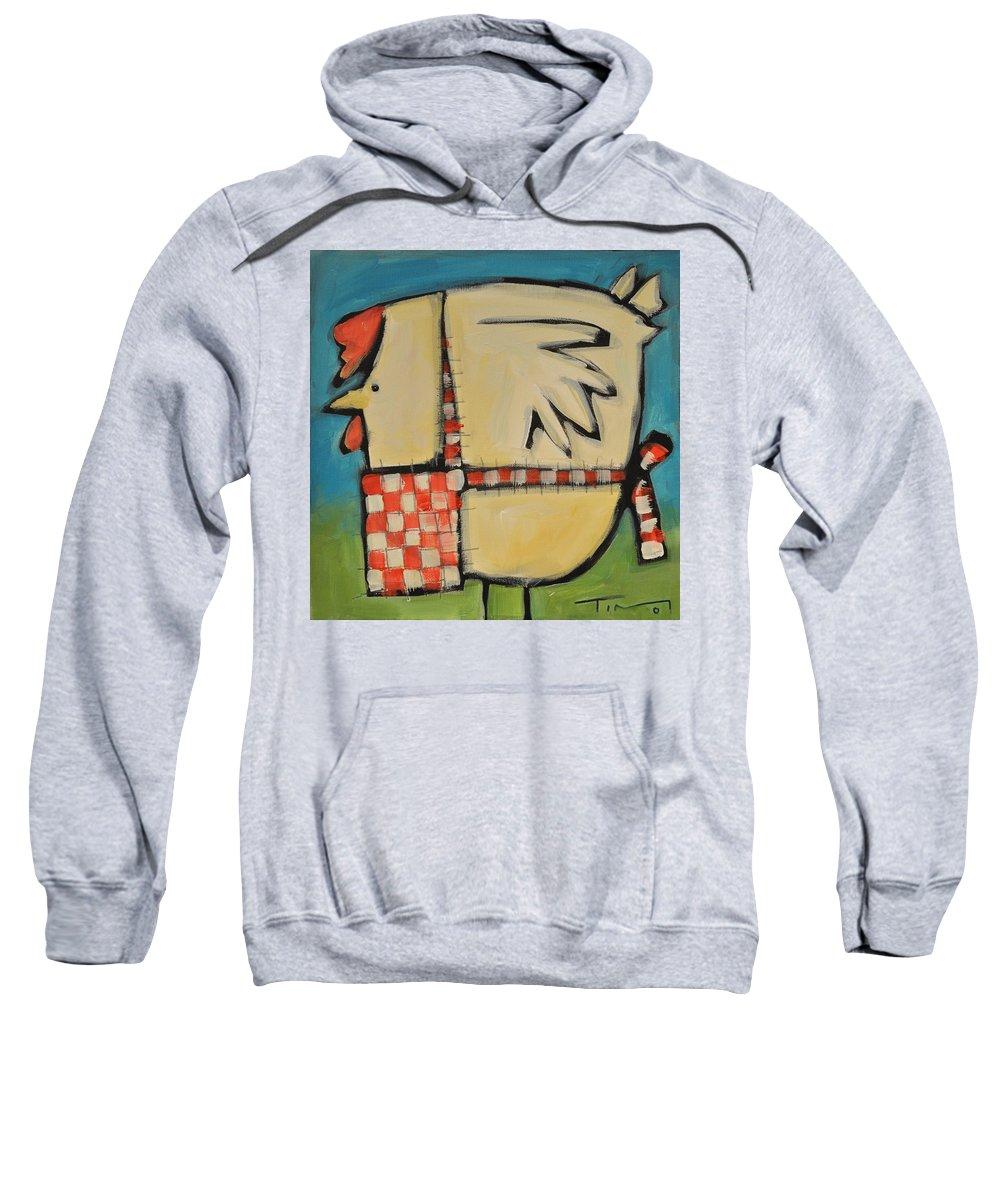 Hen Sweatshirt featuring the painting Mother Hen by Tim Nyberg