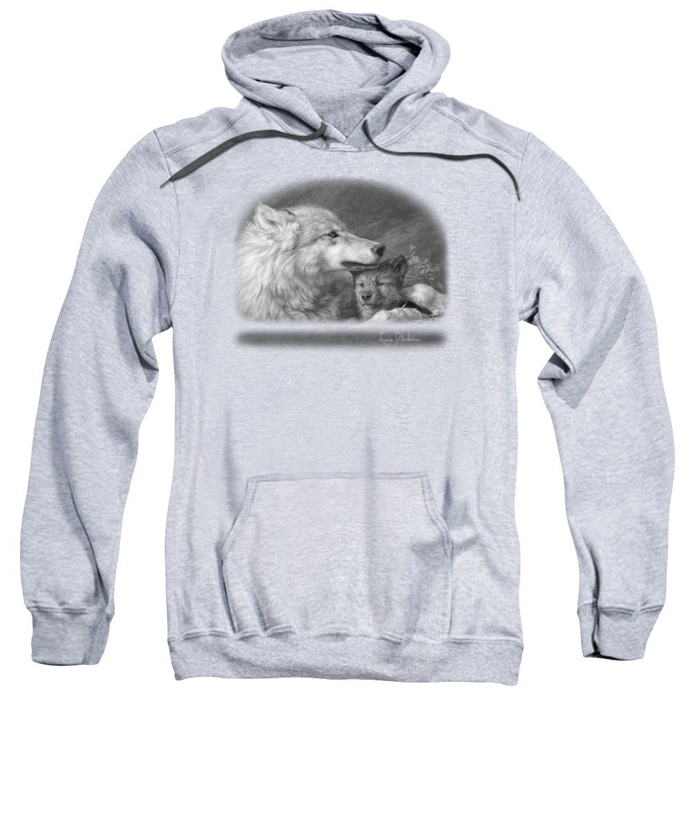 Wolf Sweatshirt featuring the painting Mother's Love - Black And White by Lucie Bilodeau