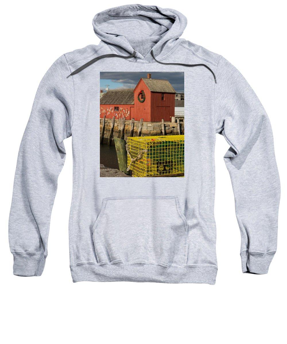 Rockport Ma Sweatshirt featuring the photograph Motif 1 At Christmas, Rockport, Ma by Nicole Freedman