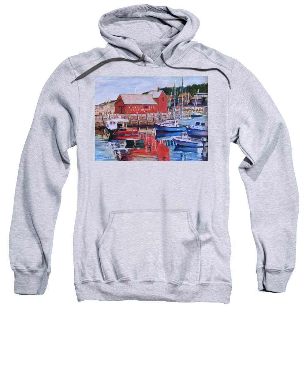 Rockport Sweatshirt featuring the painting Motif Number One by Richard Nowak