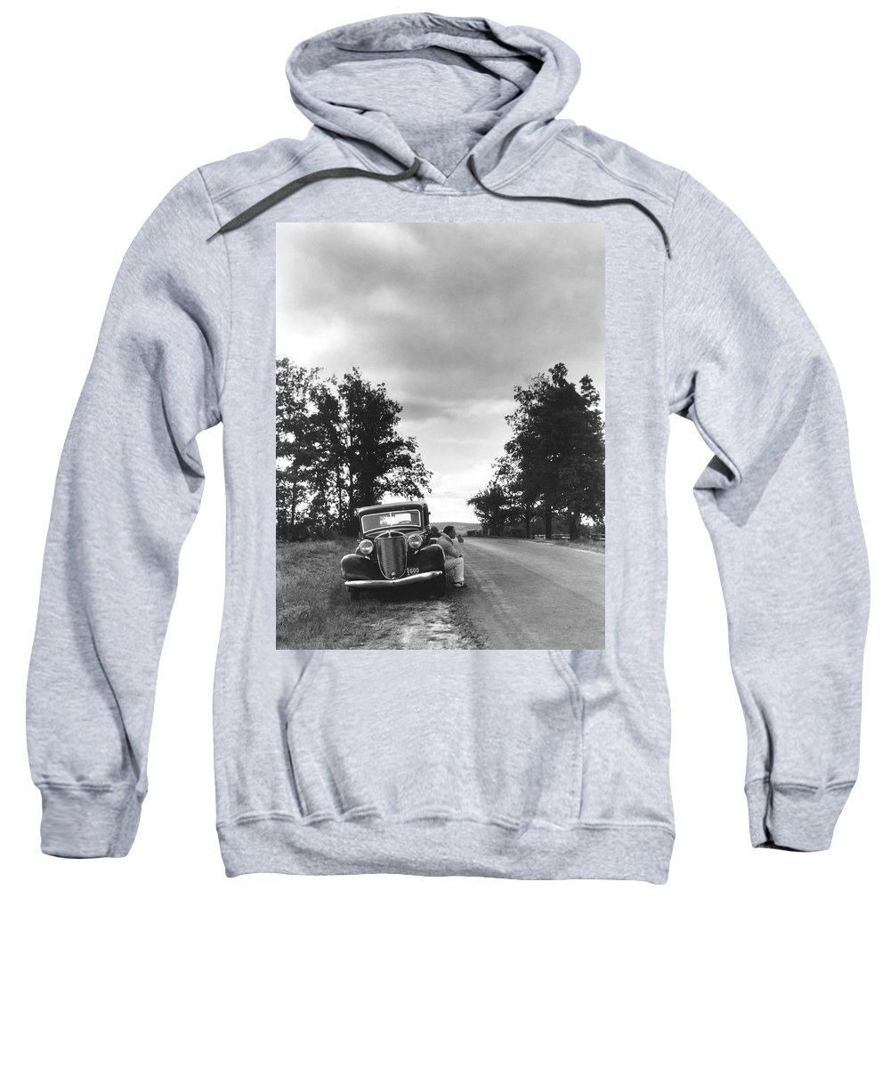 1 Person Sweatshirt featuring the photograph Motorist Parked By Roadside by Underwood Archives