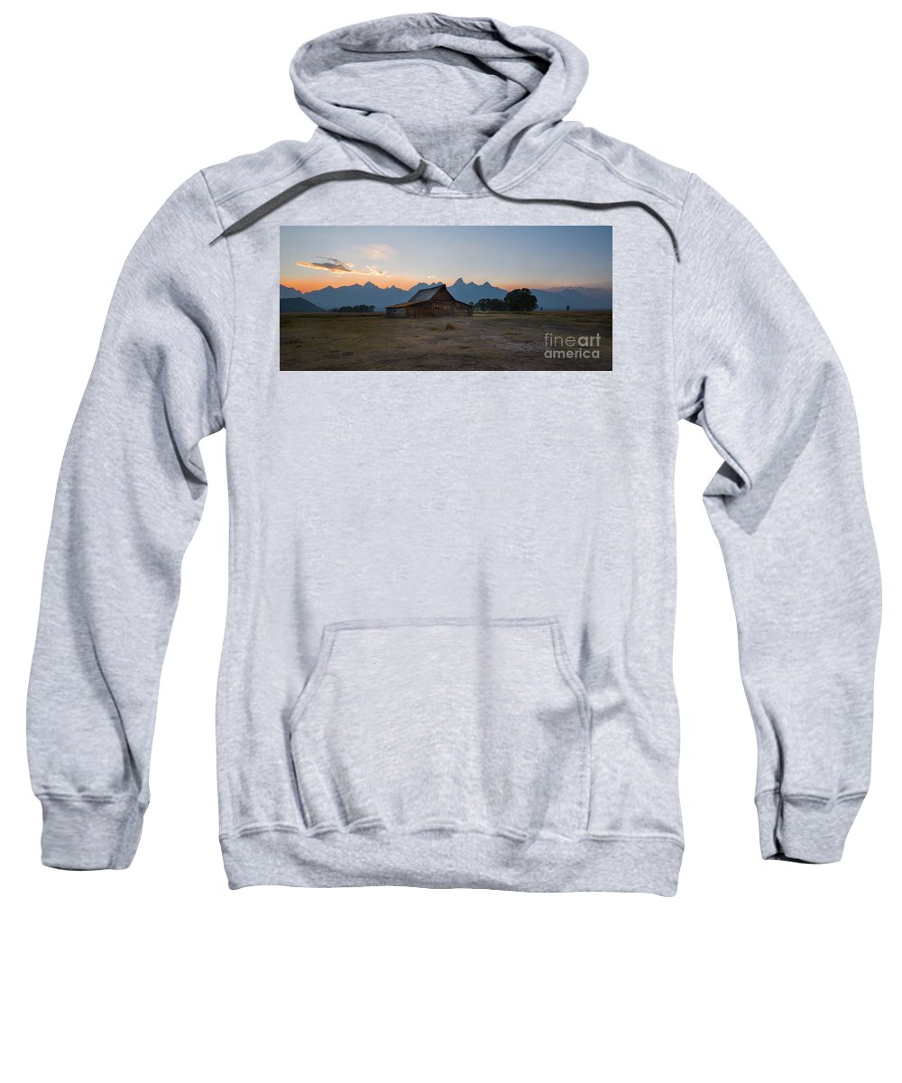 Mormon Row Sunrise Panorama Sweatshirt featuring the photograph Moulton Ranch Sunset On Mormon Row by Michael Ver Sprill