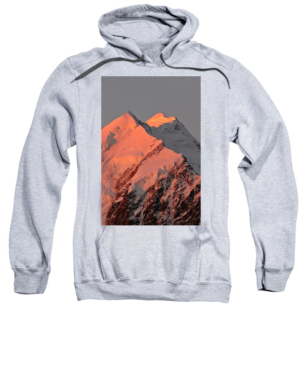 Snow Sweatshirt featuring the digital art Mount Cook Range On South Island In New Zealand by Mark Duffy