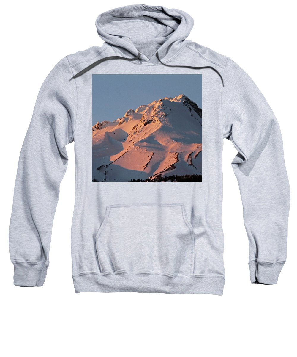 Pink Sweatshirt featuring the photograph Mount Hood Sunset Glow by Tammy Hankins
