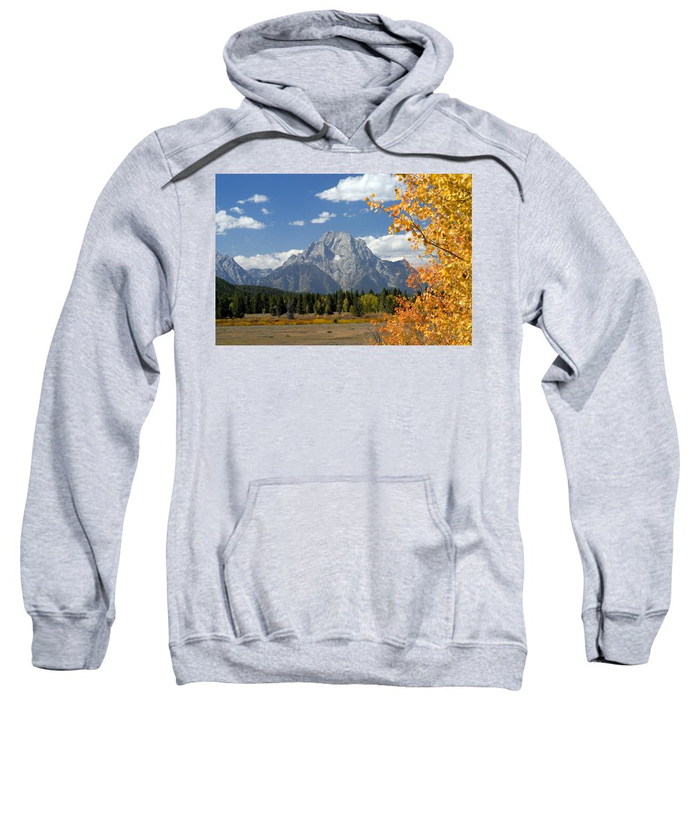 Grand Teton National Park Sweatshirt featuring the photograph Mount Moran In Autumn by Larry Ricker