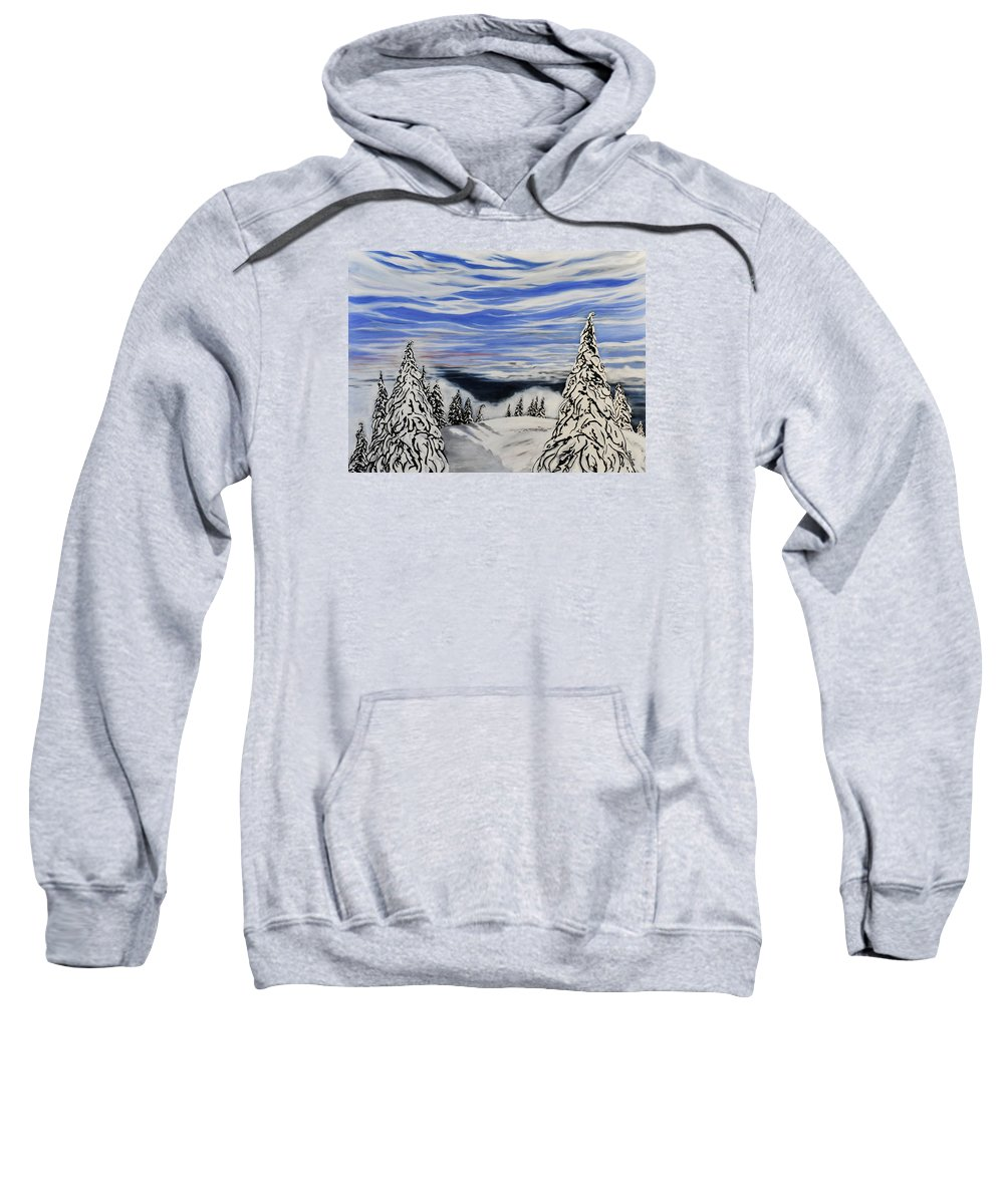 Vancouver Sweatshirt featuring the painting Mount Seymour by Caroline Liggett