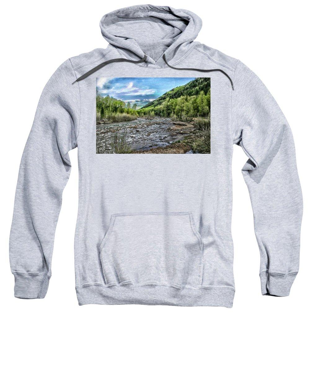 Mountain Sweatshirt featuring the digital art Mountain Creek by Al Beard