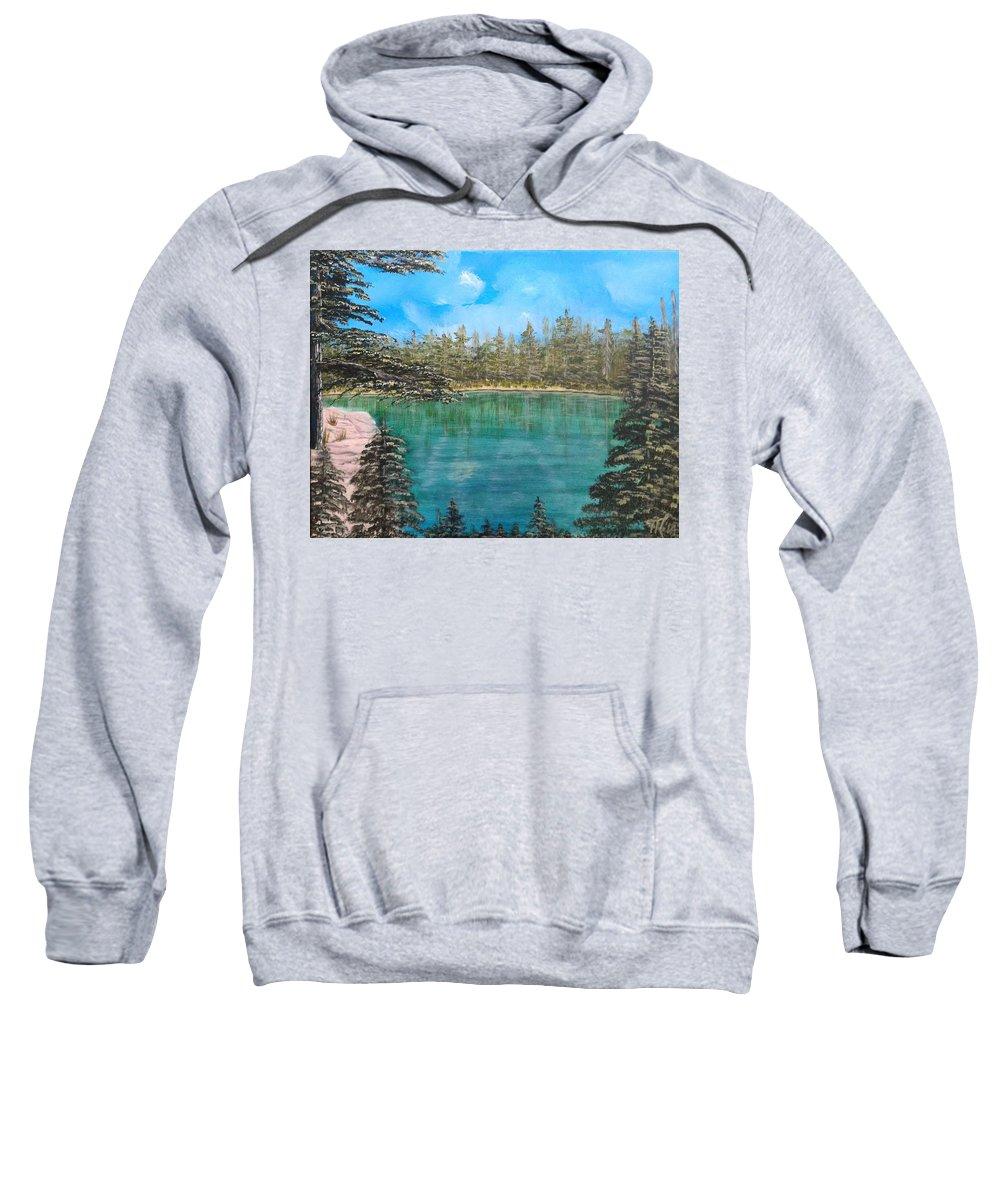 Landscape Sweatshirt featuring the painting Mountain Lake by Martha Sanchez-Hayre
