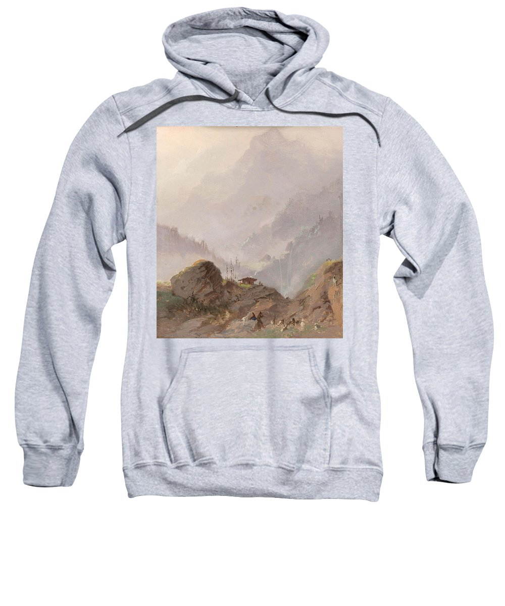 Nature Sweatshirt featuring the painting Mountain Landscape In Tirol With Chamois, Johannes Tavenraat, C. 1858 by Johannes Tavenraat