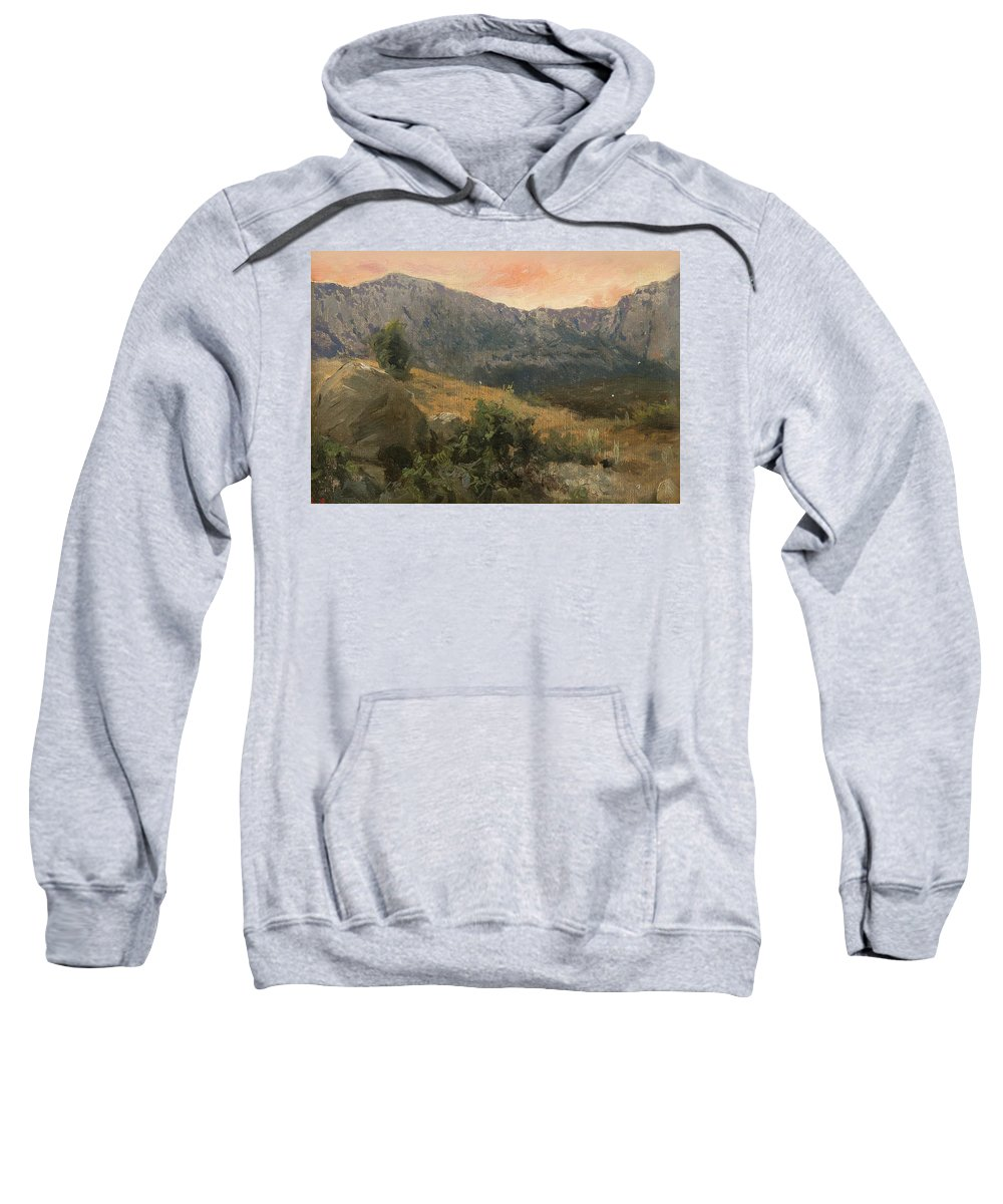 Sergei Ivanovich Svetoslavskij Sweatshirt featuring the painting Mountain Landscape by MotionAge Designs