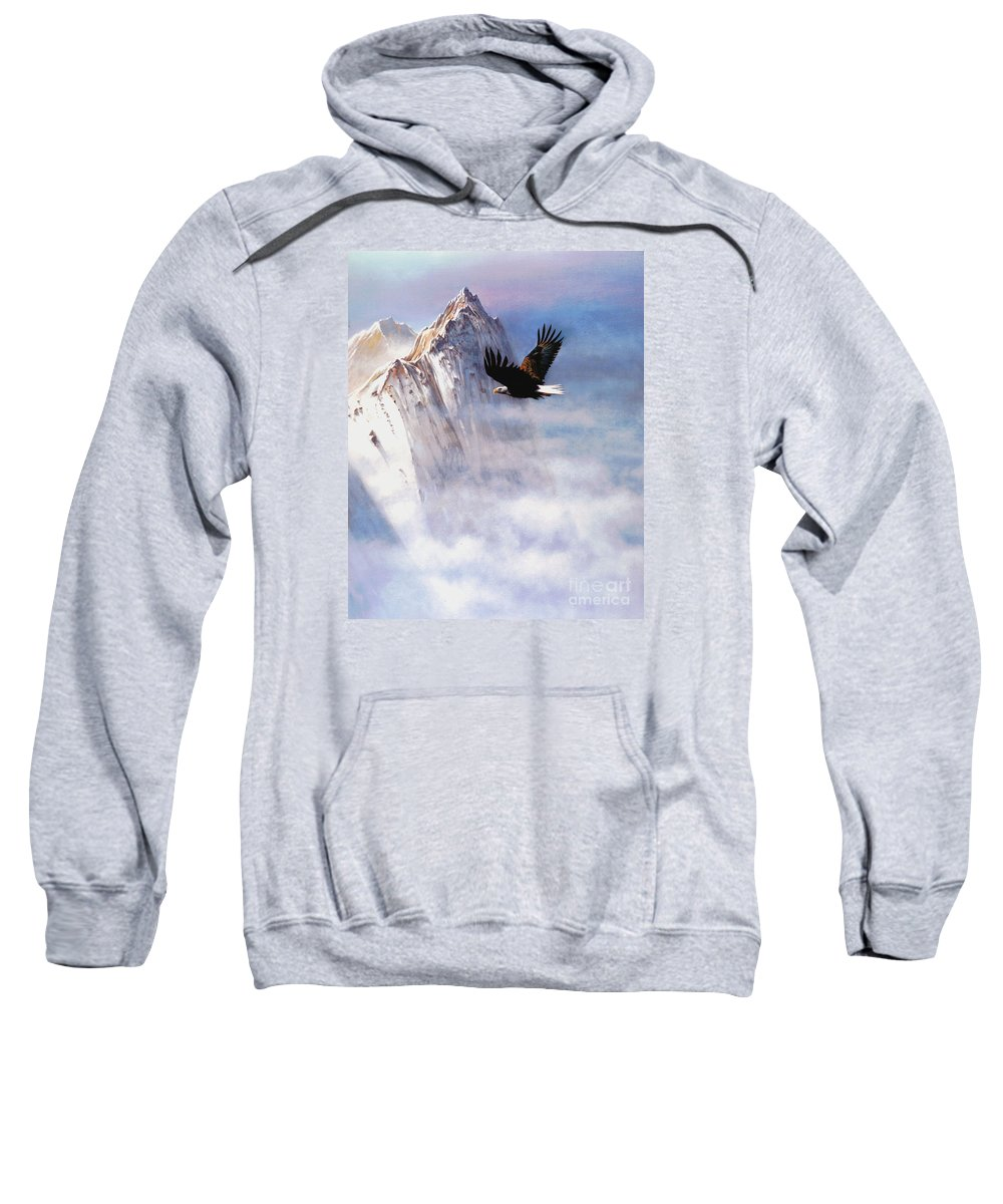 Eagle Sweatshirt featuring the painting Mountain Majesty by Robert Foster