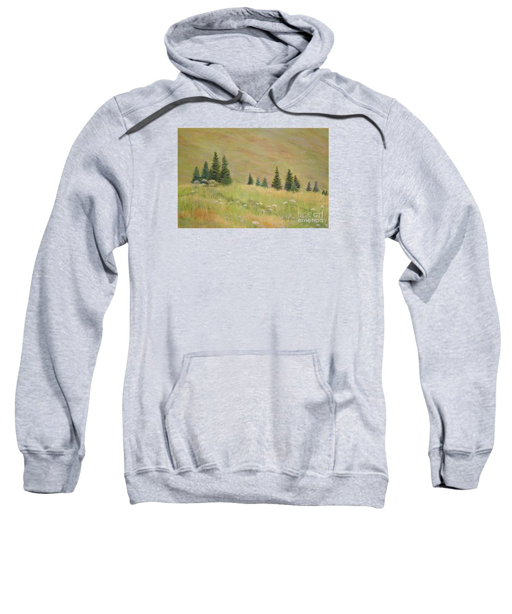 Landscape Sweatshirt featuring the painting Mountain Meadow by Lynn Quinn
