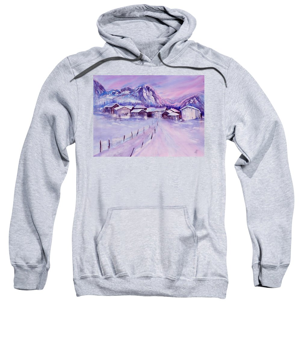 Swiss Mountains Watercolor Sweatshirt featuring the painting Mountain Village In Snow by Sabina Von Arx