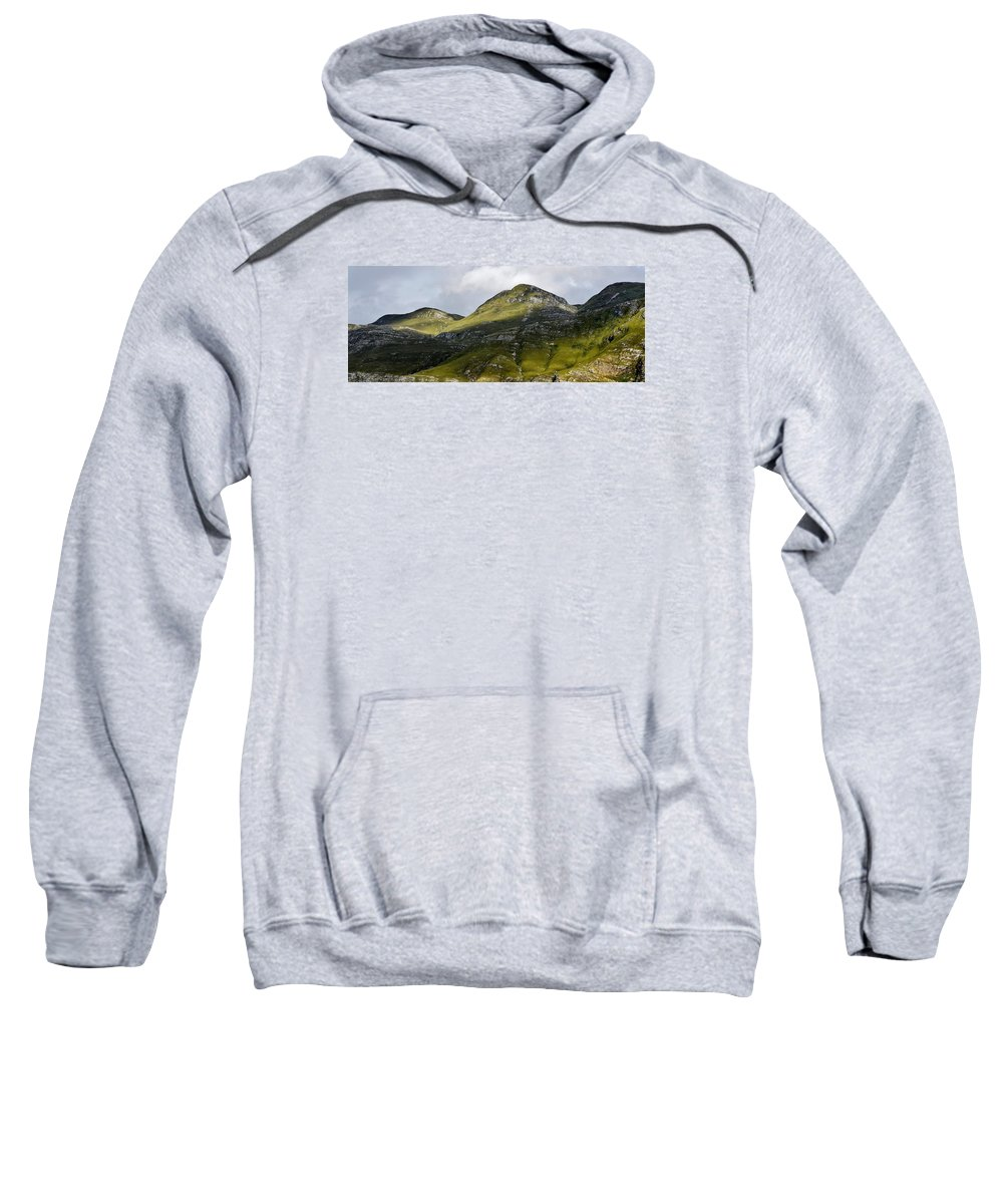 Landscape; Mountains; Hills; Morning Light; Green; Shadow And Light; Grass; Rocks; Sky; Clouds; Blue; Overberg; South Africa; Sweatshirt featuring the photograph Mountains In Morning Light by Werner Lehmann