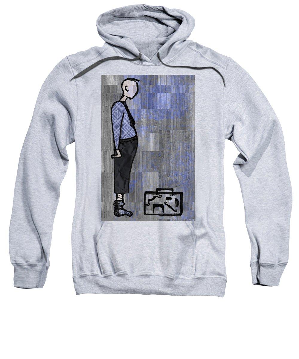Salesman Sweatshirt featuring the digital art Moustache Salesman by Kelly Jade King