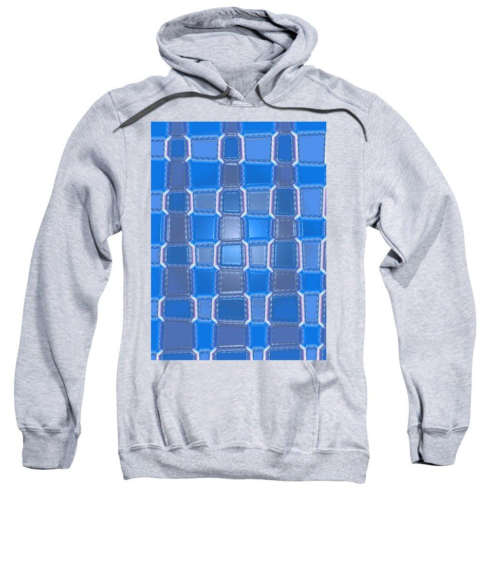 Moveonart! Digital Gallery Sweatshirt featuring the digital art Moveonart Blue Bricks by Jacob Kanduch