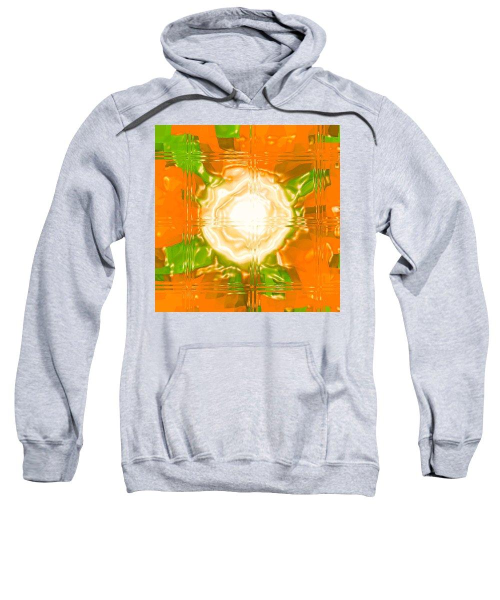 Moveonart! Digital Gallery Sweatshirt featuring the digital art Moveonart Joy With Light In Orange by Jacob Kanduch