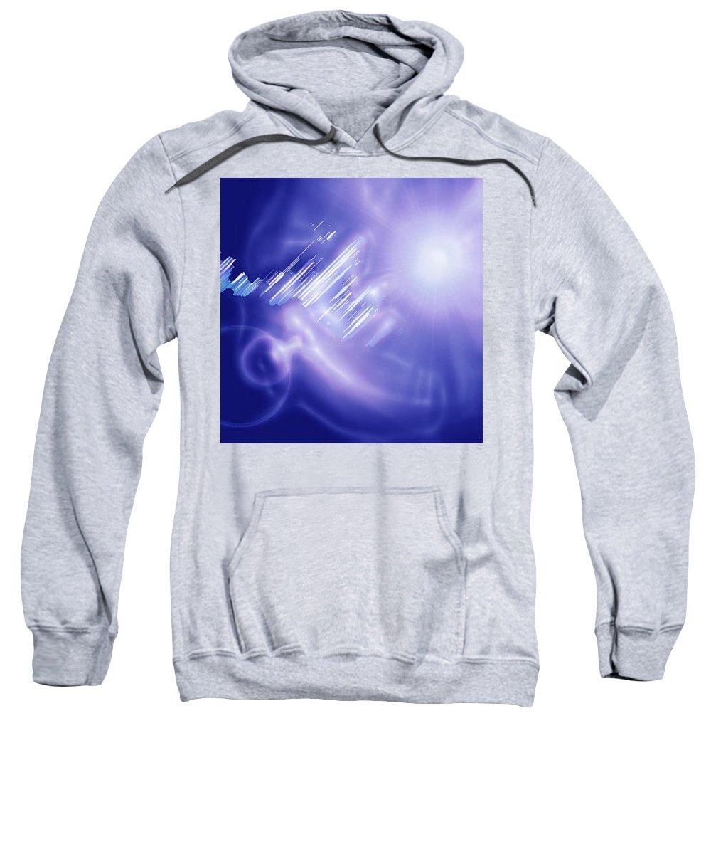 Moveonart! Digital Gallery Sweatshirt featuring the digital art Moveonart Mysterious Crystal City Coming Down by Jacob Kanduch